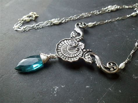 how to make mermaid jewelry teal quartz shell and fish mermaid necklace by
