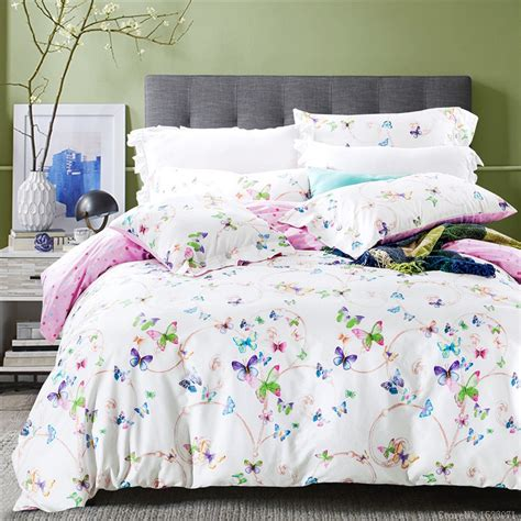 butterfly bed sets 2016 purple floral butterfly bedding comforter sets cotton