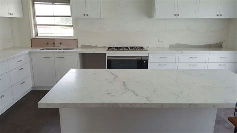 White Kitchen Island With Natural Top marble benchtops melbourne marella granite amp marble