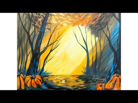 acrylic painting forest tutorial fall painting tutorial acrylic easy water drops on a