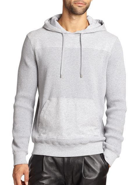 waffle knit hoodie michael kors waffle knit fleece hoodie in gray for lyst