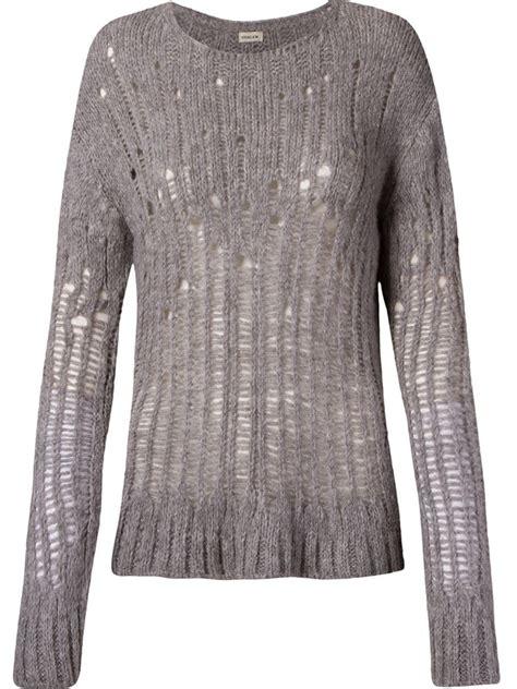 open knit sweater osklen open knit sweater in gray grey lyst