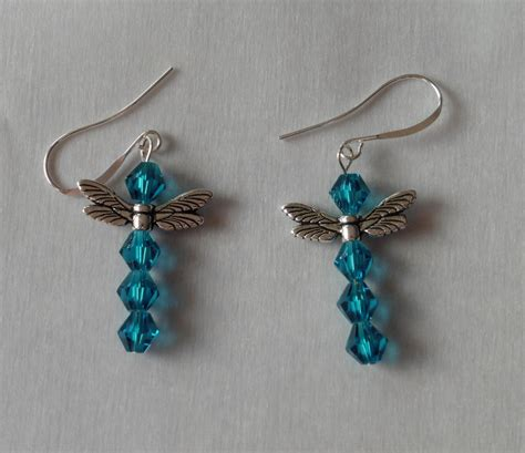 beaded dragonfly earrings blue dragonfly beaded earrings steunk jewelry