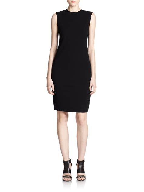 knit black dress vince ponte knit sheath dress in black lyst