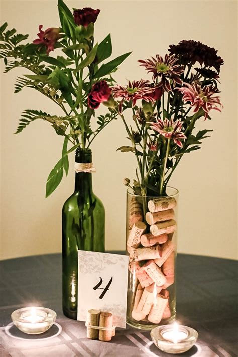 make your own wine themed centerpieces for 5