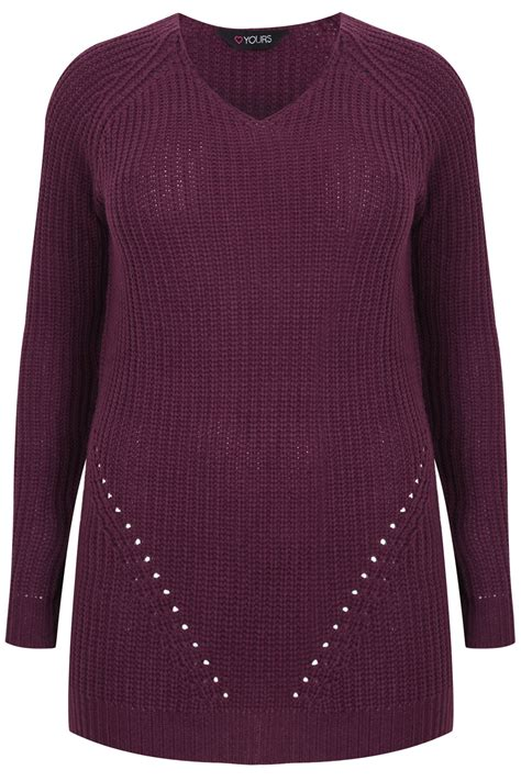 purple knitted jumper purple longline knitted v neck jumper plus size 16 18 20