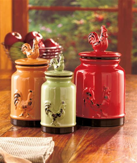 country kitchen canisters sets set of 3 rooster canisters country kitchen accent home