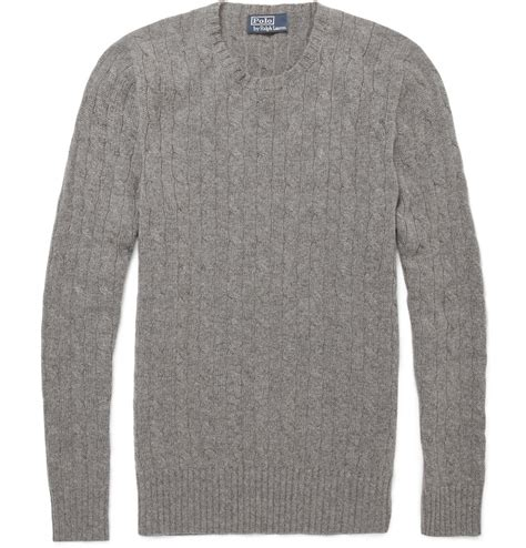 cable knit ralph sweater polo ralph cable knit sweater in gray for
