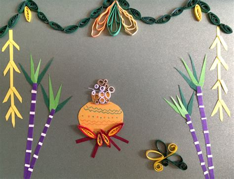 how to make a pongal greeting card about pongal festival and quilling pongal special ideas