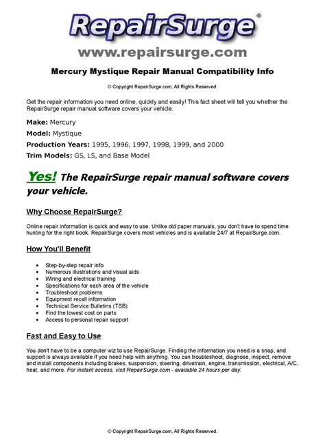 mercury mystique online repair manual for 1995 1996 1997 1998 1999 and 2000 by repairsurge