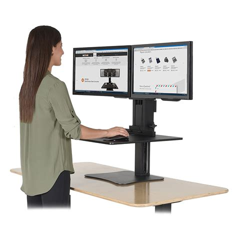 monitor desk stands victor dc350 high rise dual monitor sit stand desk