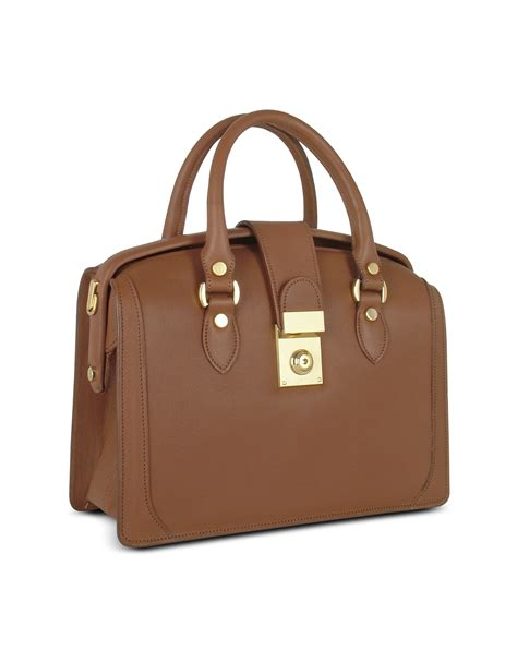 leather doctor bags for l a p a brown italian leather doctor bag in brown lyst