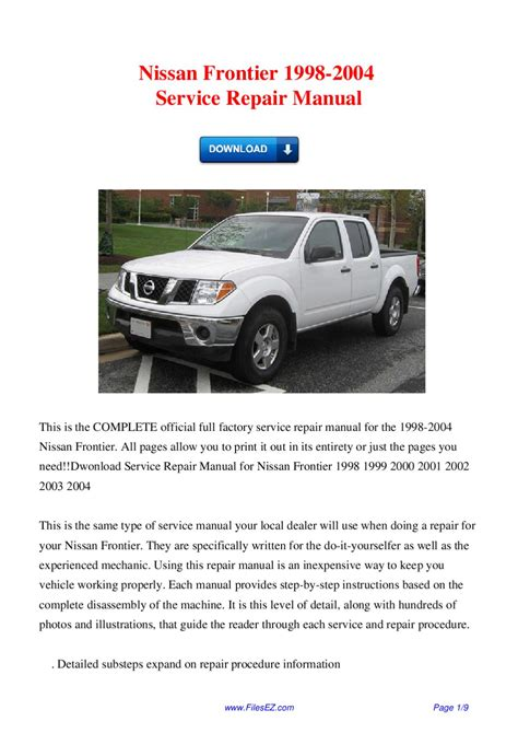 how to download repair manuals 2001 nissan frontier transmission control issuu nissan frontier 1998 2004 service repair manual by david wong