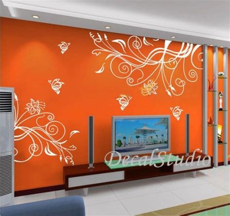 butterfly flower home removeable wall decal mural vinyl sticker decalstudio housewares