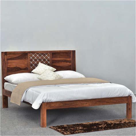rustic wood bed frames lattice solid wood rustic platform bed frame w