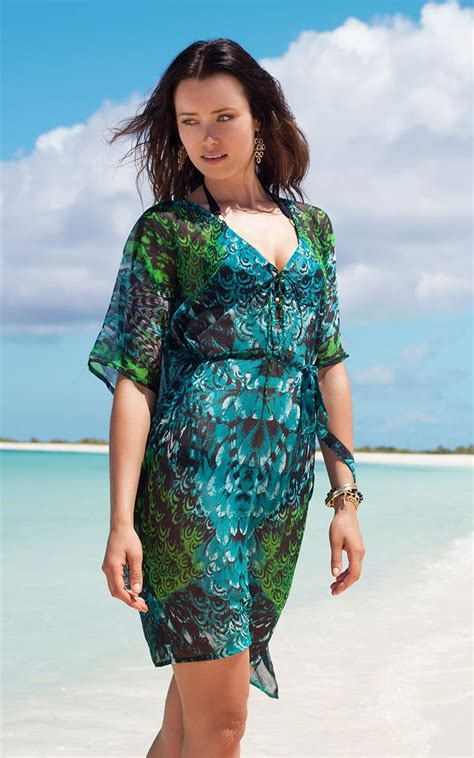 beaded swim cover up voda swim feather beaded cover up in blue lyst