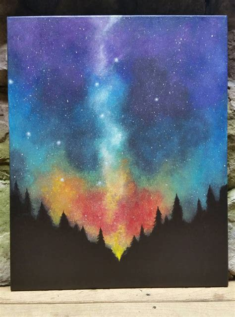acrylic painting space sky forest original acrylic painting by