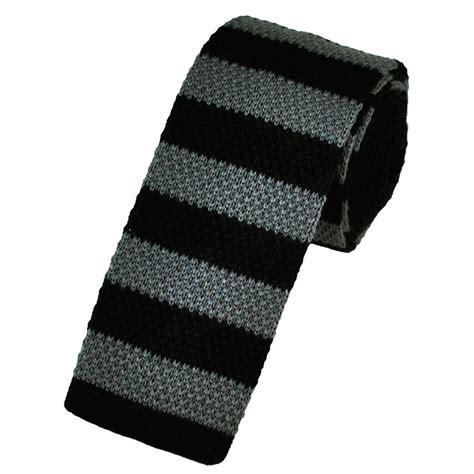 wool knit tie black grey horizontal striped wool knitted narrow tie