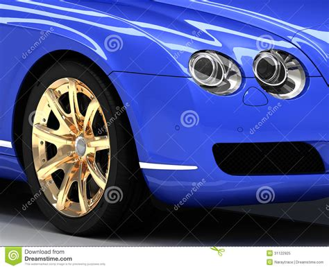 Blue Car Gold Wheels by Premium Blue Car With Gold Wheels Royalty Free Stock Photo