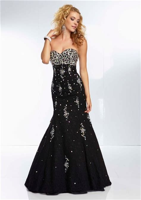 beaded corset prom dress mermaid strapless sweetheart black lace beaded prom
