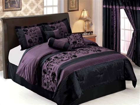 purple and black comforter set pic