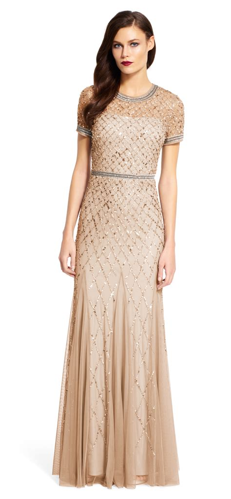 beaded gowns for of the papell cap sleeve beaded gown in lyst