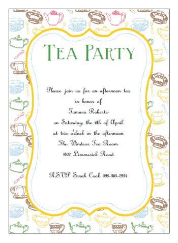 template for invitation printable tea invitations