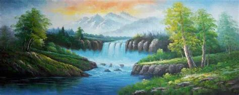 bob ross paintings easy waterfall in summer bob ross landscape painting in for