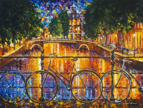 on canvas amsterdam the bridge of bicycles original painting