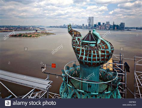 view of the torch platform of the statue of liberty