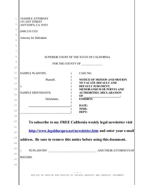 sample california motion to vacate default judgment under