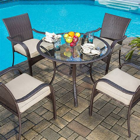 mainstays wicker 5 patio dining set seats 4 mainstays wicker 5 patio dining set seats 4 shoptv