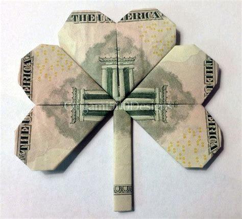 origami out of a dollar bill 5 bill shamrock clover money origami dollar bill