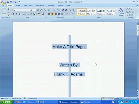 how to make a page word 112 a make a title page