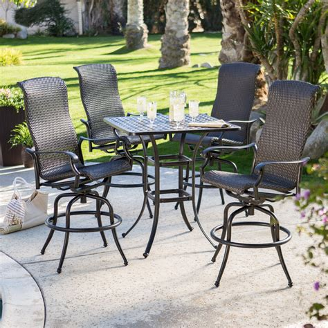 bar height patio dining set belham living palazetto all weather wicker bar height
