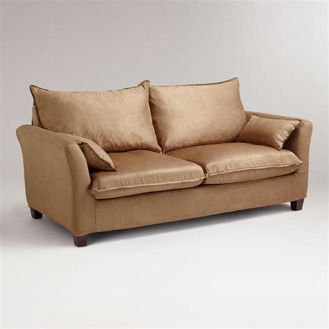 microsuede sofa slipcover moccasin microsuede luxe sofa slipcover world market