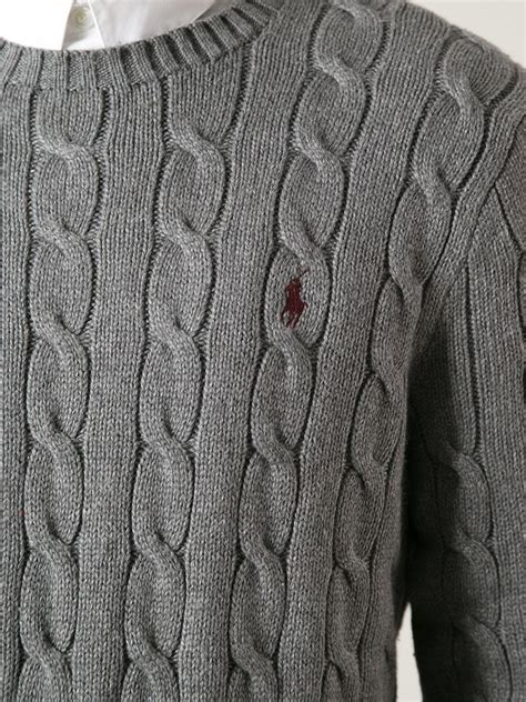 polo cable knit sweater polo ralph cable knit sweater in gray for lyst