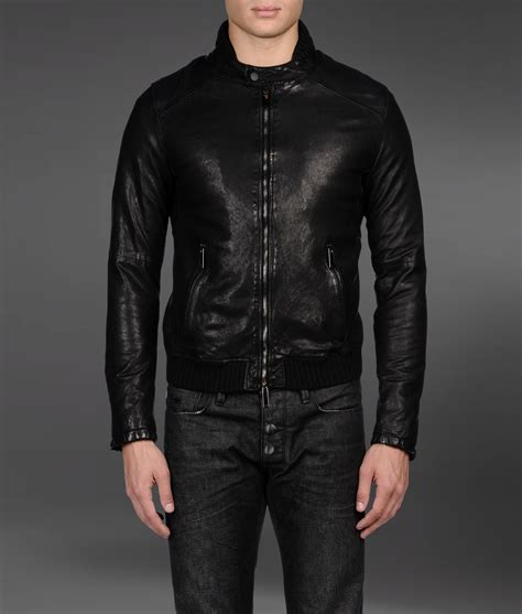 leather sleeve blazer emporio armani biker jacket with leather sleeves in black for lyst