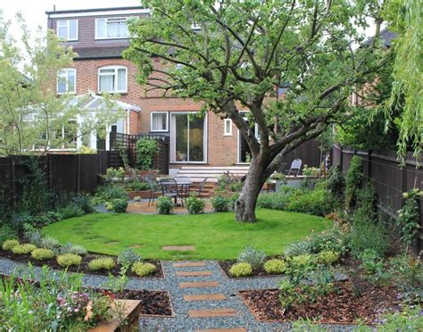 garden design pictures circular lawn in rectangular garden garden design