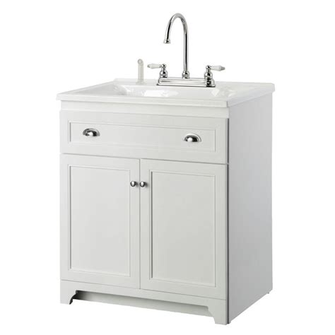 laundry sink with cabinet foremost keats 30 in laundry vanity in white and premium acrylic sink in white and faucet kit
