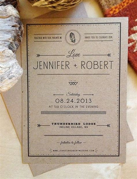 craft paper wedding invitations boho rustic craft paper wedding invitation kraft paper