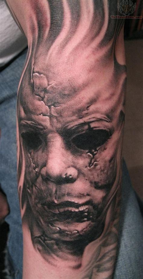 horror face skull tattoo