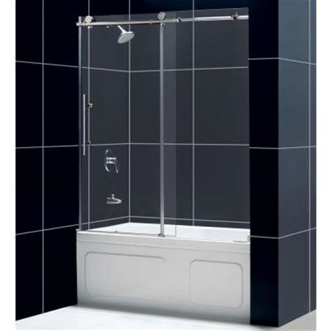 bathtub shower doors home depot dreamline enigma x 59 in x 62 in frameless sliding tub