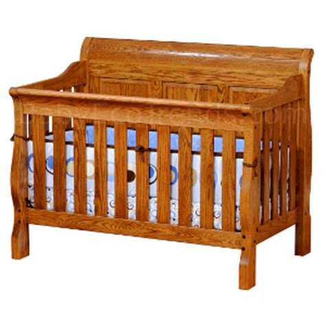 solid oak baby cribs solid wood cribs amish 4 in 1 convertible crib sleigh