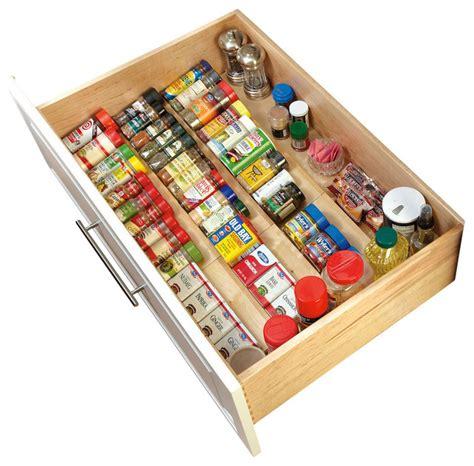 kitchen cabinet drawer organizers rev a shelf wood spice drawer insert