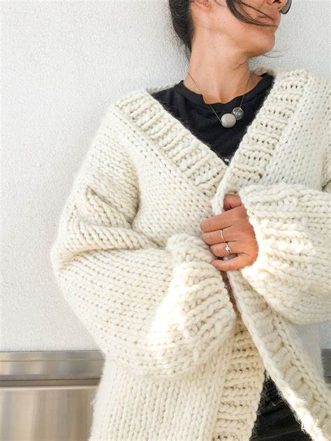 we are knit chunky cardigan knitting pattern and kit flax twine
