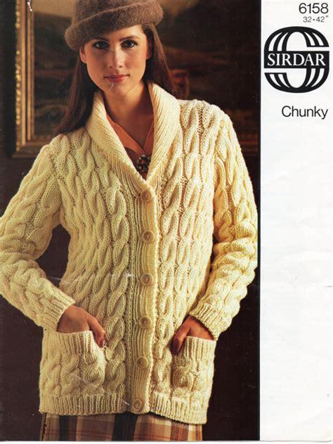 knitting patterns jackets cardigans vintage womens chunky cable cardigan knitting pattern pdf