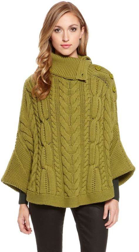 cable knit poncho sweater green oversized sweater hugo sibylla wool