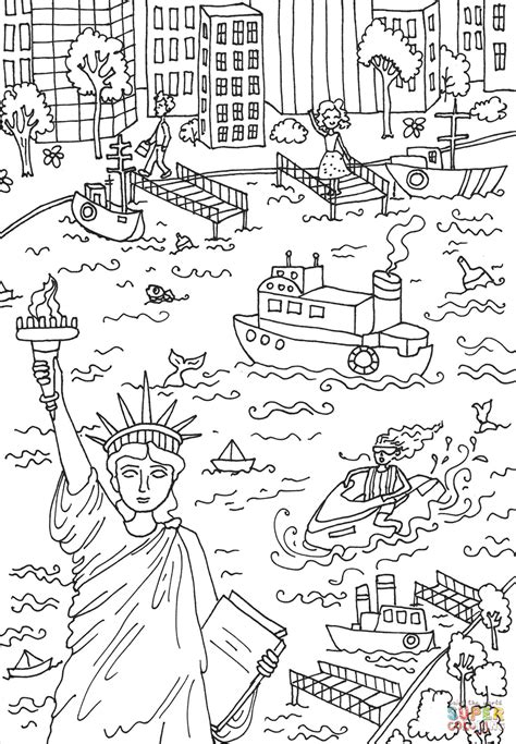 the statue of liberty coloring page free printable