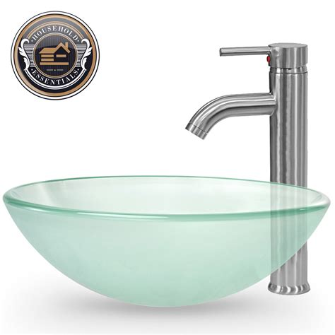 kitchen sink faucet combo bathroom vessel sink frosted tempered glass with faucet and pop up drain combo ebay